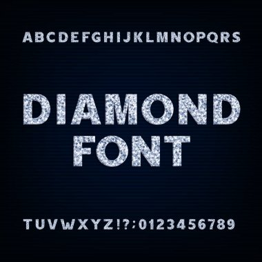 Diamond alphabet font. Brilliant letters symbols and numbers.