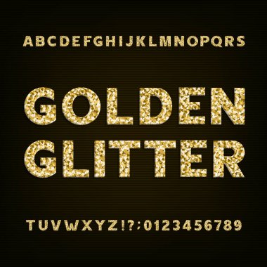 Golden glitter alphabet font. Bold letters numbers and symbols.