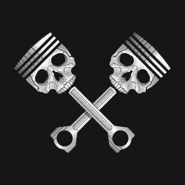 Crossed car engine pistons with skulls