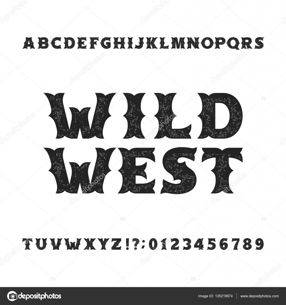 Vintage typeface retro distressed alphabet font wild west bold letters and numbers