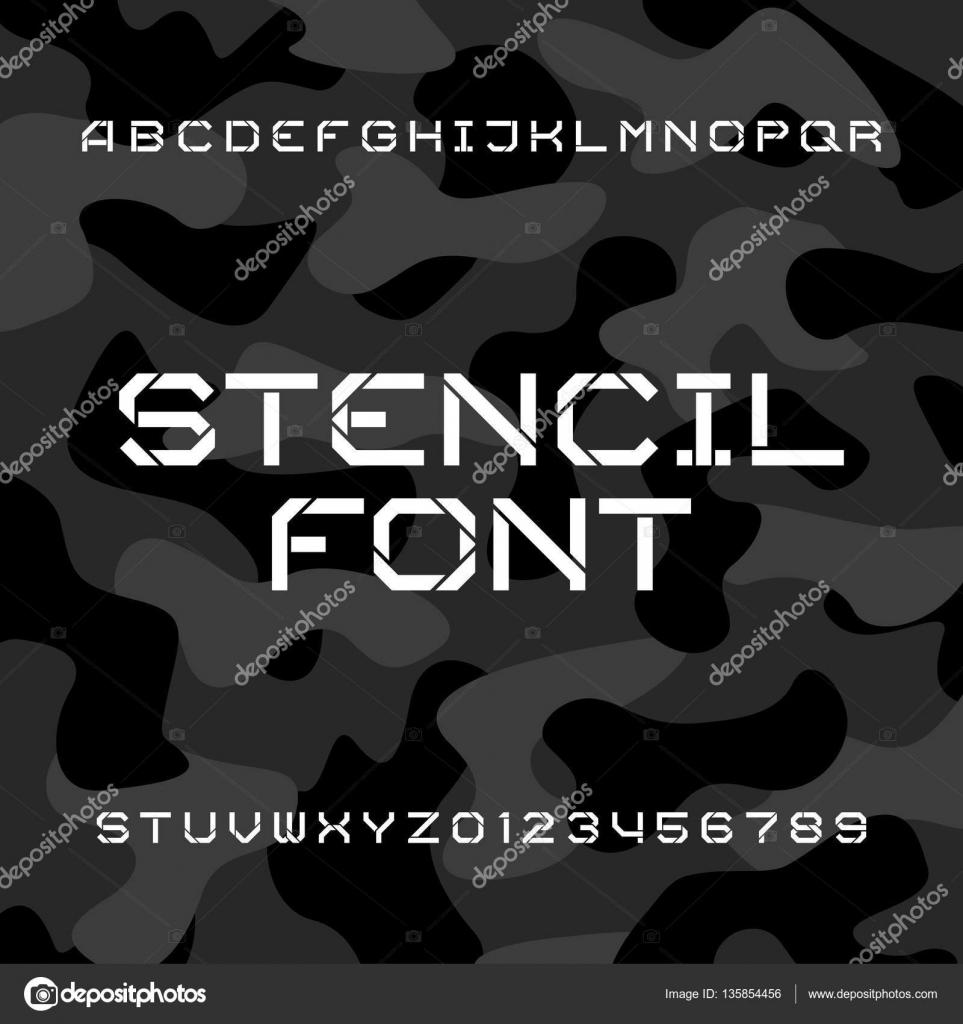 Letra de alfabeto de la plantilla. Duro tipo Letras y números sobre ...