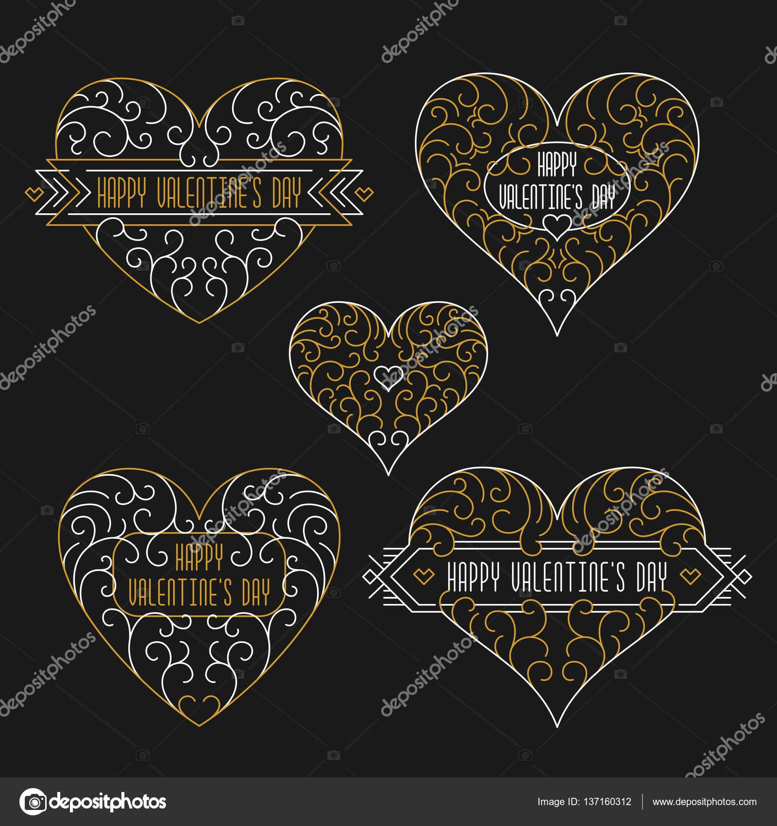 Feliz día de San Valentín tarjetas. Marcos de estilo de contorno ...