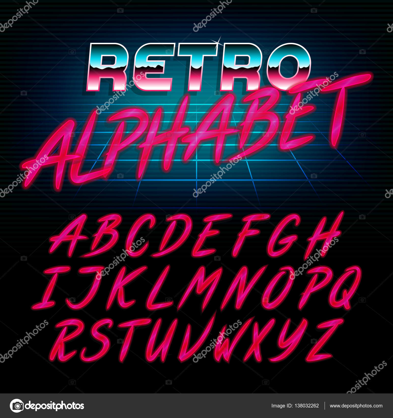 80's retro alphabet font  Glow effect shiny letters  — Stock Vector