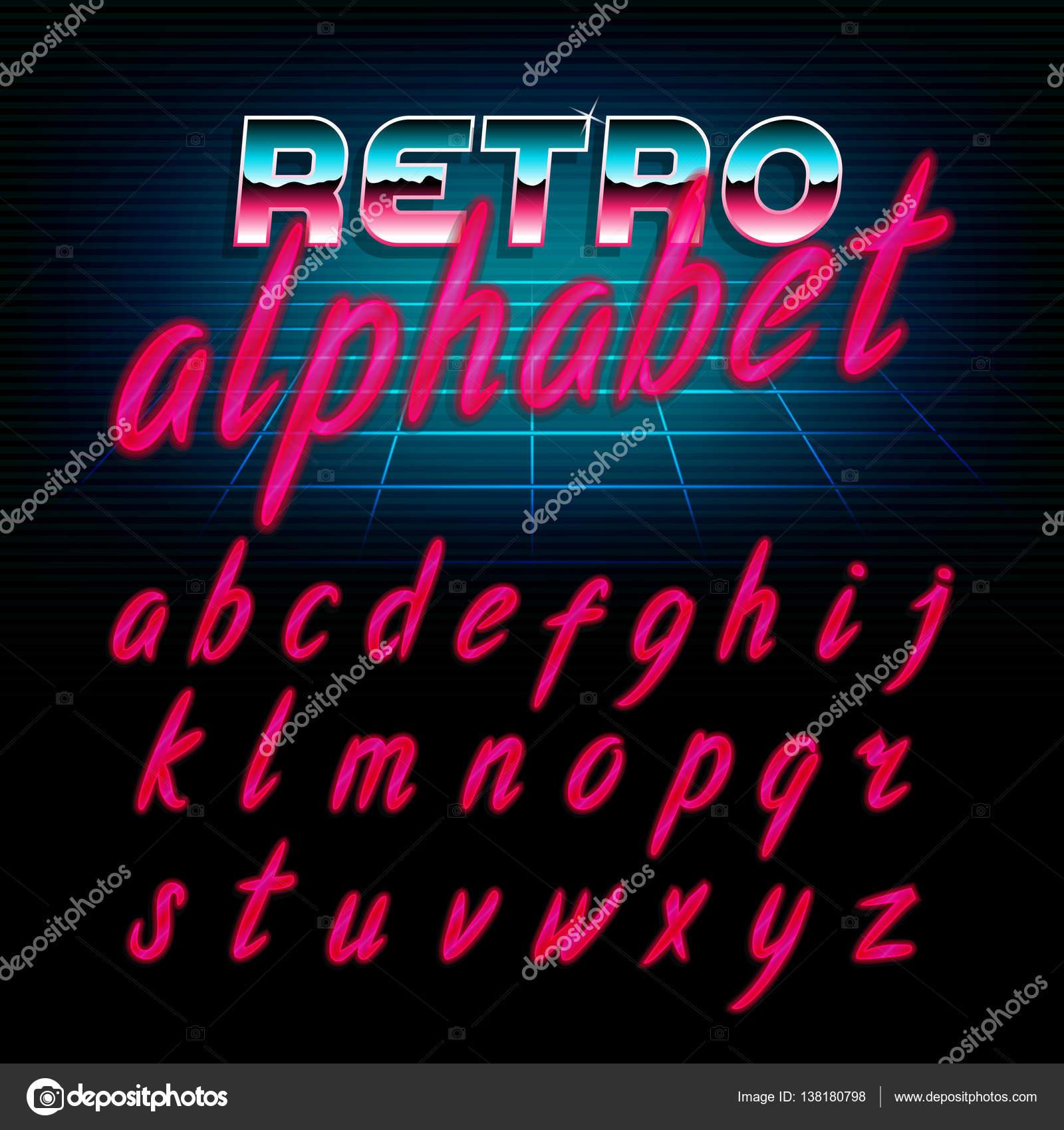 Neon 80s font | 80's retro alphabet font  Glow effect shiny