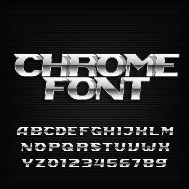 Chrome alphabet font. Metallic effect italic letters and numbers.