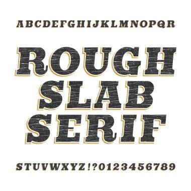 Rough vintage slab serif alphabet font