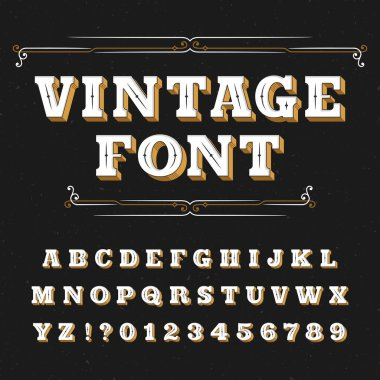 Vintage alphabet font. Ornate letters for labels, headlines, posters on a distressed background.