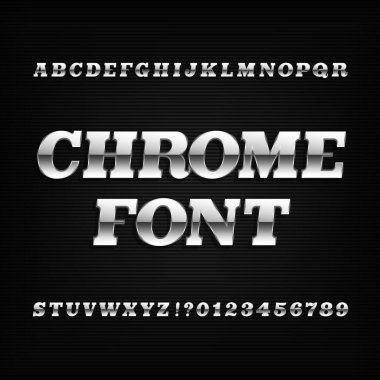 Chrome alphabet font. Metallic effect slab serif oblique letters and numbers on a dark background.