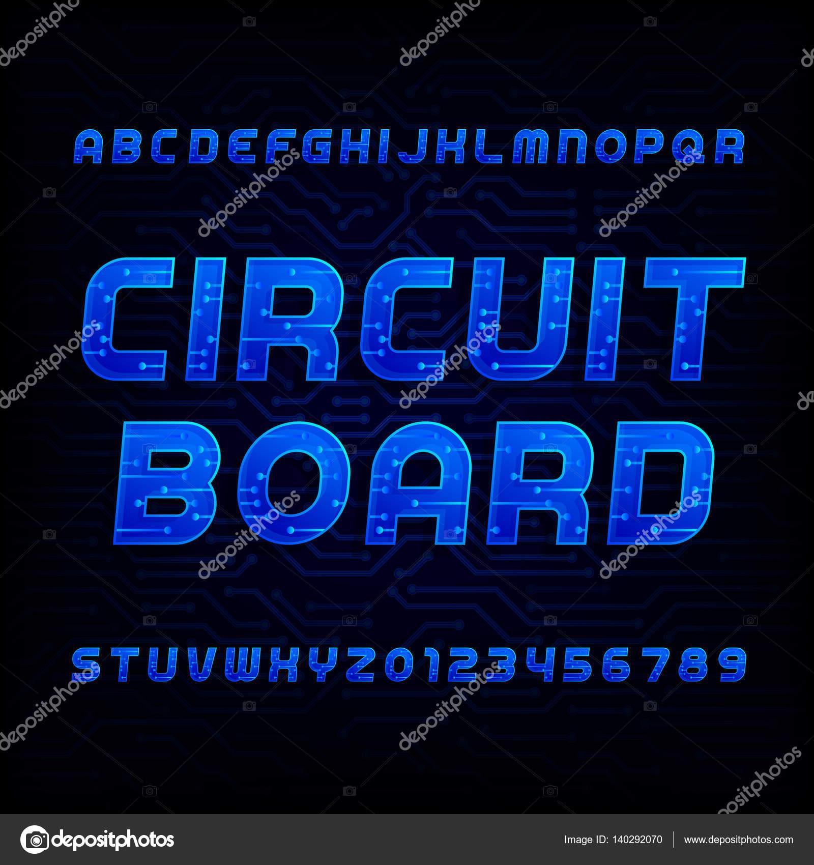 Circuit board font. Vector Alphabet. Digital hi-tech style letters ...