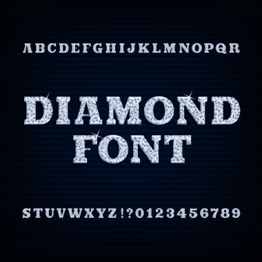 Diamond alphabet font. Brilliant type letters and numbers.