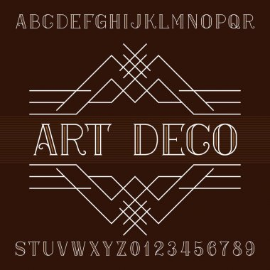 Art deco alphabet vector font in outline style. Serif type letters and numbers.