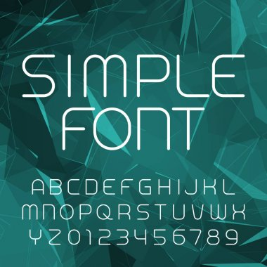 Simple alphabet vector font in outline style. Thin line letters and numbers on a polygonal background.