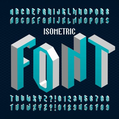 Isometric alphabet font. Type letters and numbers.