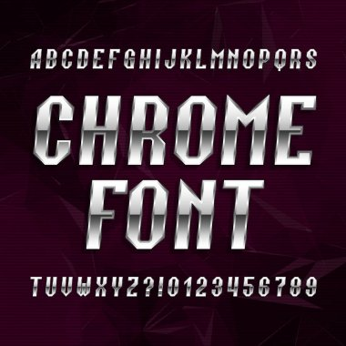 Chrome alphabet font. Metallic effect italic letters and numbers on abstract polygonal background.
