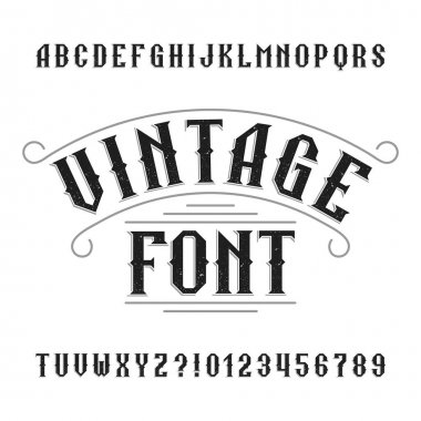 Vintage alphabet. Retro distressed letters and numbers.