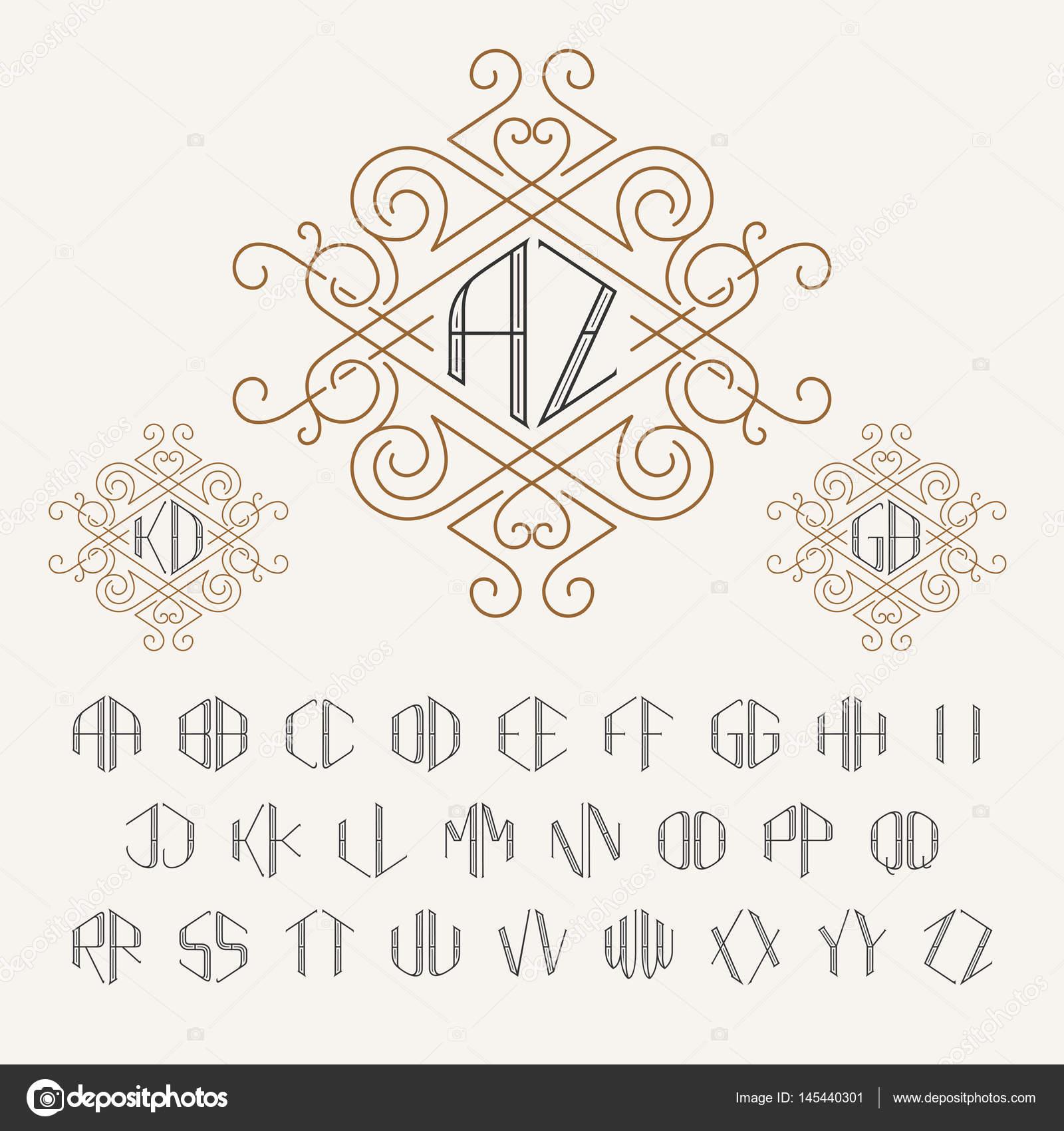 Zwei Buchstaben Monogramm Vorlage in Umriss-Stil — Stockvektor ...