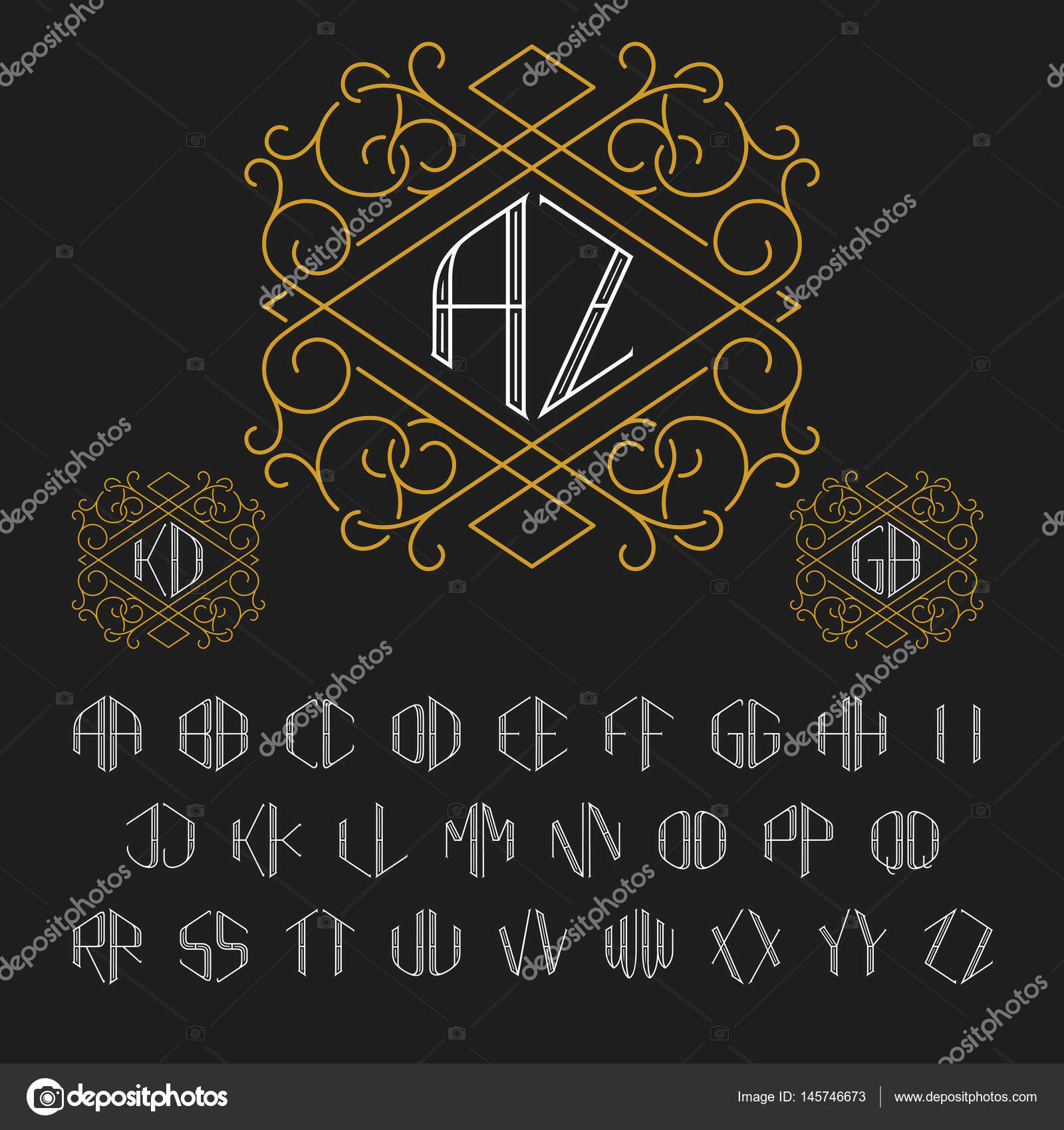 Template for two letters monogram in outline style set of vector template for two letters monogram in outline style set of vector letters from a to zxury set of stylish elegant monograms vector by epifantsev spiritdancerdesigns Image collections