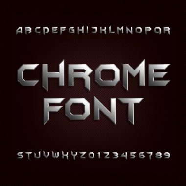 Chrome alphabet font. Metallic effect letters and numbers.