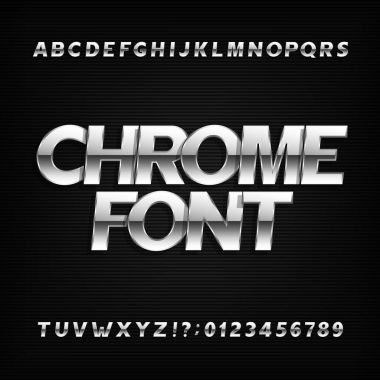 Chrome alphabet font. Metallic effect sans serif letters and numbers.