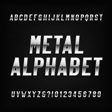 Metal alphabet font. Chrome effect letters and numbers on a dark background.