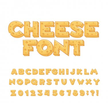 Cartoon cheese alphabet font. Type letters, numbers, symbols.