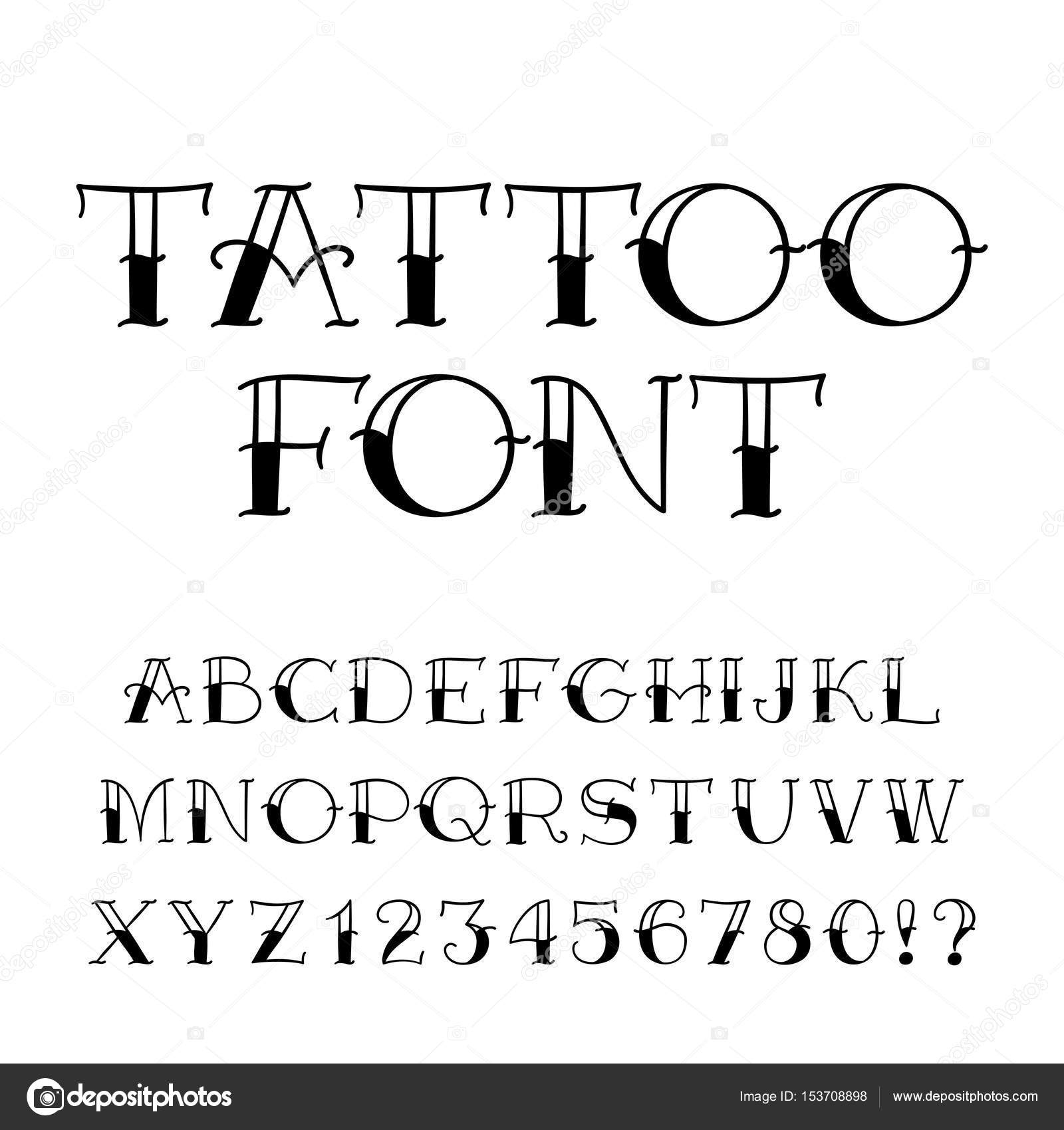 Tattoo font vintage style alphabet letters and numbers stock tattoo font vintage style alphabet letters and numbers on white background vector typeface for your design vector by epifantsev altavistaventures Images