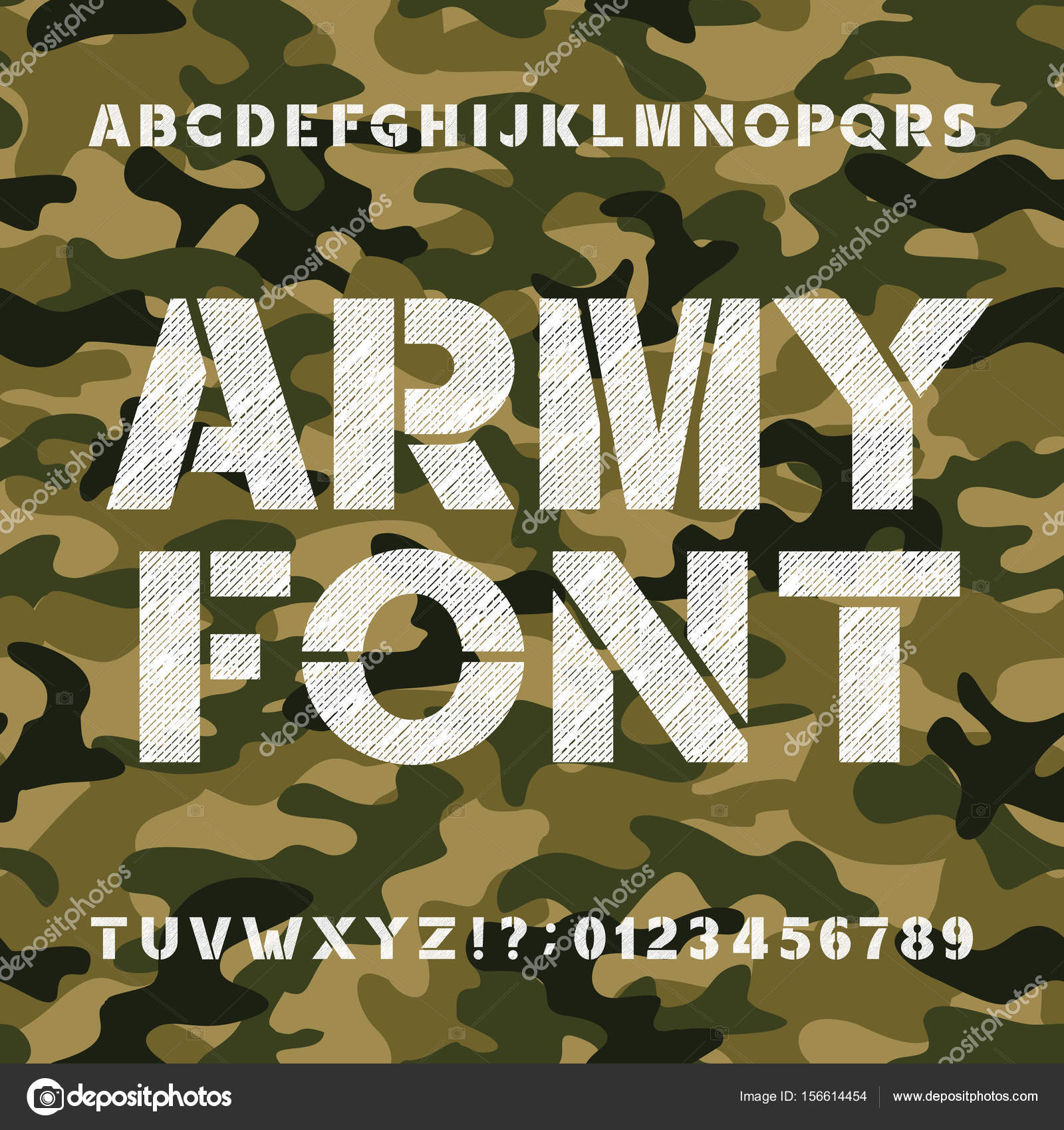 army alphabet font scratched bold type letters and numbers on a
