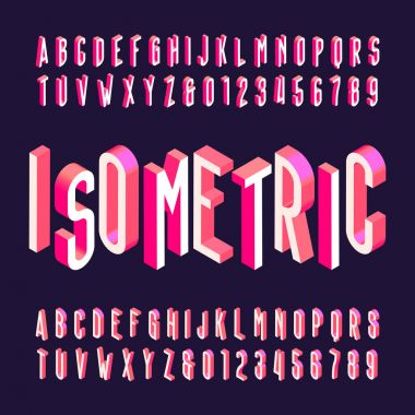 3D isometric alphabet vector font. Letters, numbers and symbols.
