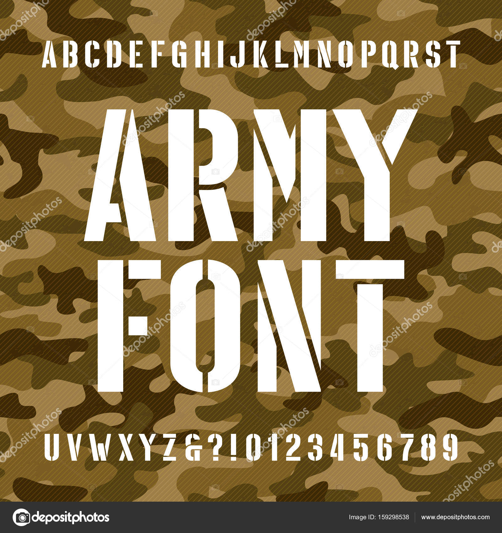 Army Stencil Alphabet Font Type Letters And Numbers On Distressed
