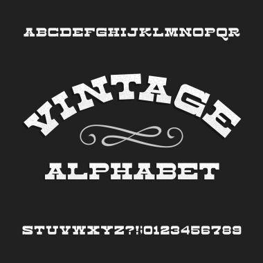 Vintage alphabet. Retro slab serif letters and numbers.