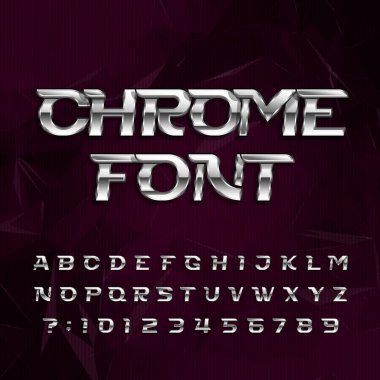 Chrome alphabet font. Metallic effect italic letters and numbers on a dark polygonal background.