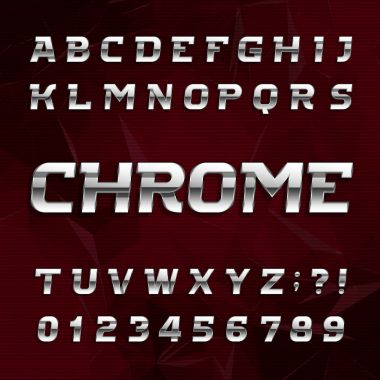 Chrome alphabet font. Metallic effect oblique letters and numbers on an abstract background.