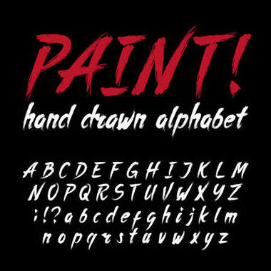 Hand drawn calligraphy brush stroke alphabet. Grunge style letters and numbers.