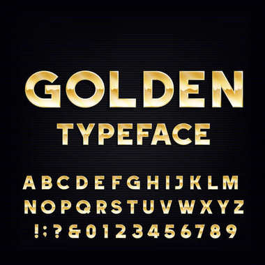 Golden Alphabet Vector Font. Metallic effect shiny letters and numbers on a dark background.