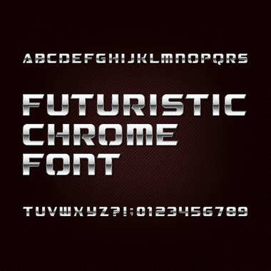 Futuristic chrome alphabet font. Metallic effect letters and numbers on a dark background.