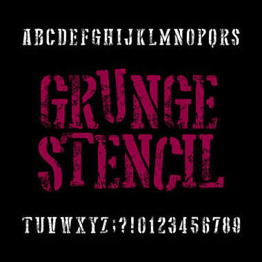 Grunge stencil typeface. Retro alphabet font. Scratched letters and numbers on a black background.