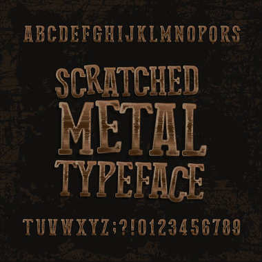 Scratched metal typeface. Retro alphabet font. Metallic letters and numbers on a dark rough background.