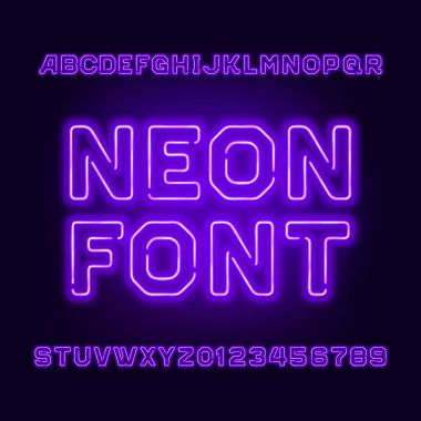 Purple neon tube alphabet font. Neon color letters and numbers.