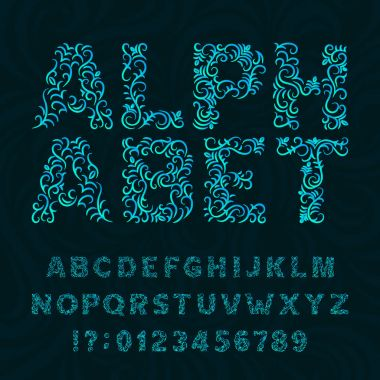 Ornate typeface. Ornamental alphabet font. Effect letters and numbers on a swirl background.