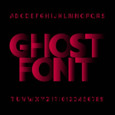 Ghost alphabet vector font. Type letters symbols and numbers.
