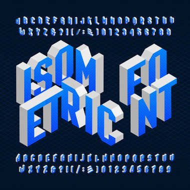 Isometric alphabet font. Type letters, numbers and symbols.