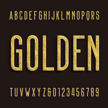 Golden Alphabet Font. Metallic effect shiny letters and numbers.