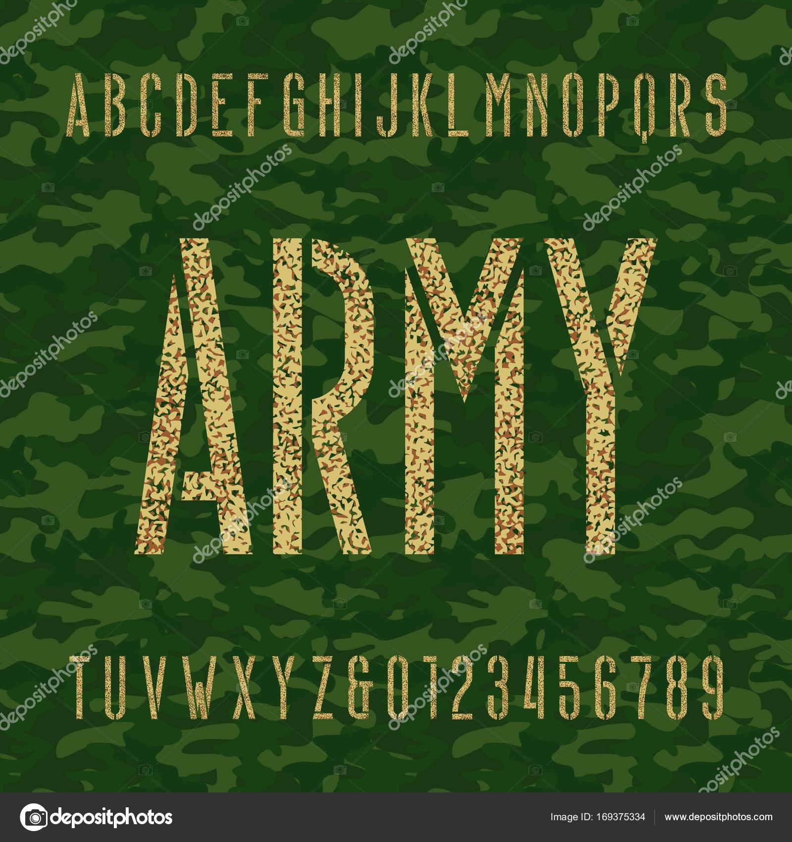 Letra de alfabeto de la plantilla de ejército. Tipo de letras y ...