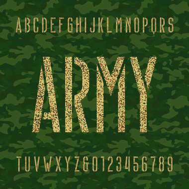 Army stencil alphabet font. Type letters and numbers on a green camo seamless  background.