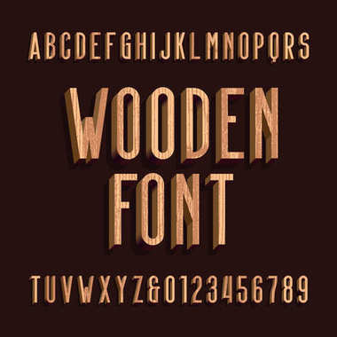 Wood retro alphabet vector font. Letters and numbers.