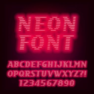 Red neon tube alphabet font. Neon color oblique letters and numbers.