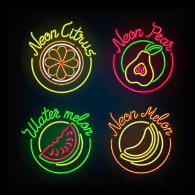 Neon signs. The set of different light sign.