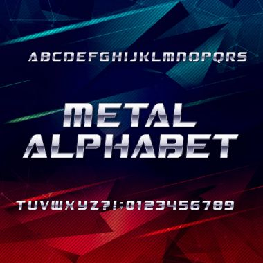 Futuristic chrome alphabet font. Metallic effect oblique letters and numbers on an abstract background.
