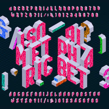 Isometric alphabet font. Bright type letters, numbers and symbols.