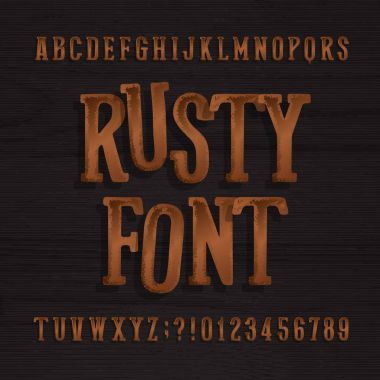 Hand drawn rusty vintage typeface. Retro alphabet font. Type letters and numbers on a rough wooden background.